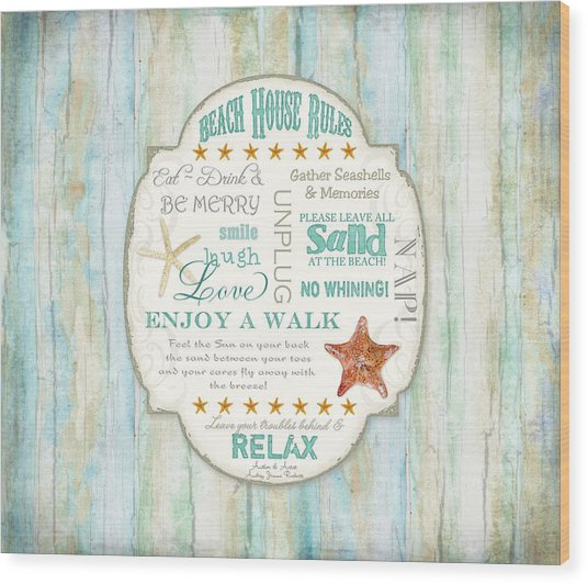 Beach House Rules - Refreshing Shore Typography Wood Print