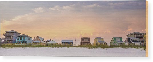 Wood Print featuring the photograph Beach House Sunset by Whitney Leigh Carlson