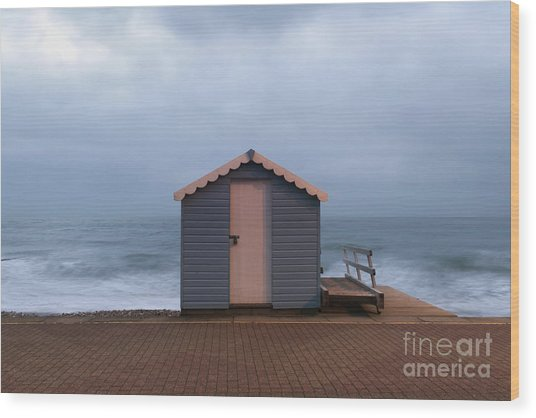 Beach Hut Wood Print
