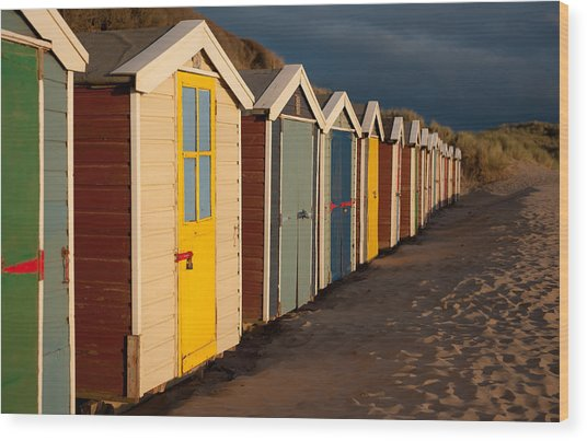 Beach Huts II Wood Print