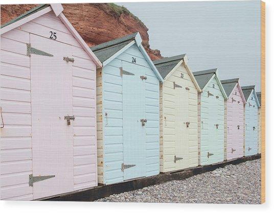 Beach Huts Vi Wood Print