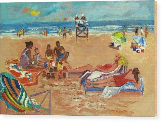 Beach In August Wood Print