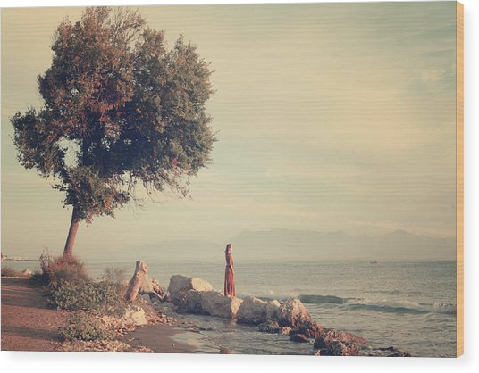 Beach In Roda - Greece Wood Print