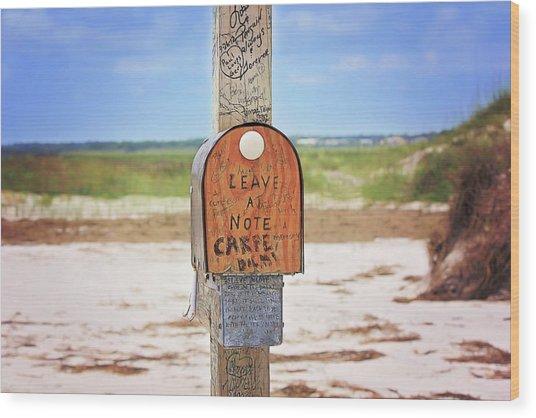 Beach Mail Wood Print