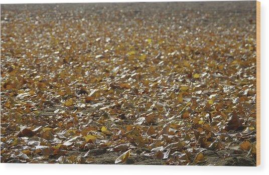 Beach Of Autumn Leaves Wood Print