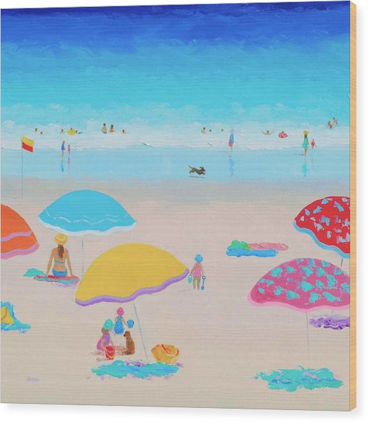 Beach Painting - Ah Summer Days Wood Print