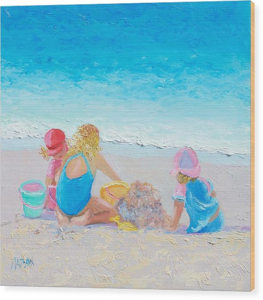 Beach Painting - Building Sandcastles Wood Print