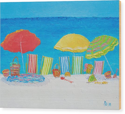 Beach Painting - Deck Chairs Wood Print