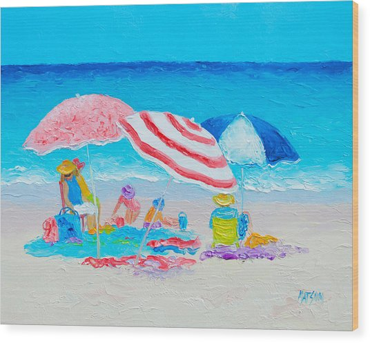 Beach Painting - Summer Beach Vacation Wood Print