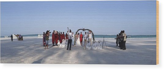 Beach Panoramic Wedding  Wood Print