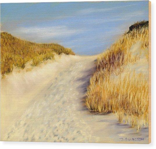 Beach Path Wood Print by Joan Swanson