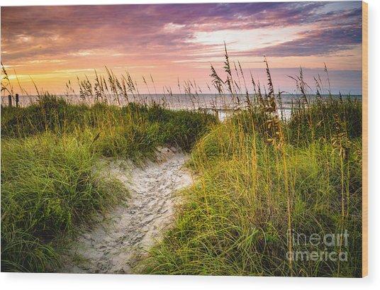 Beach Path Sunrise Wood Print