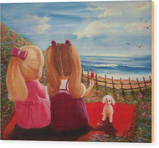 Beach Picnic Wood Print