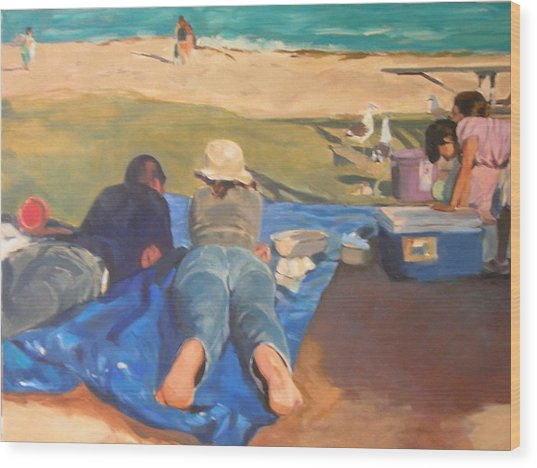 Beach Picnic Wood Print by Merle Keller