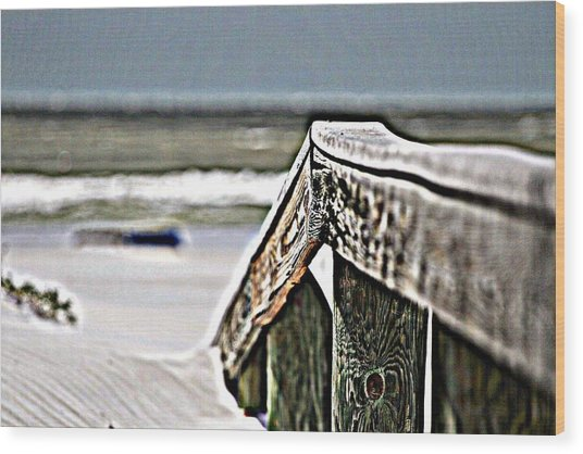 Beach Rail Wood Print