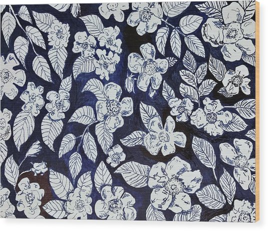 Beach Rose Pattern Wood Print