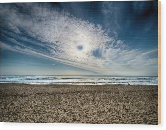 Beach Sand With Clouds - Spiagggia Di Sabbia Con Nuvole Wood Print