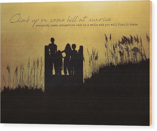 Beach Silhouette Quote Wood Print by JAMART Photography