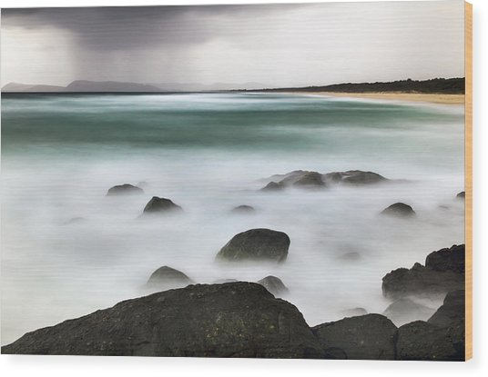 Beach Squall Wood Print