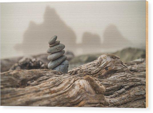 Beach Stack Wood Print