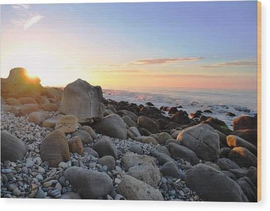 Beach Sunrise Over Rocks Wood Print