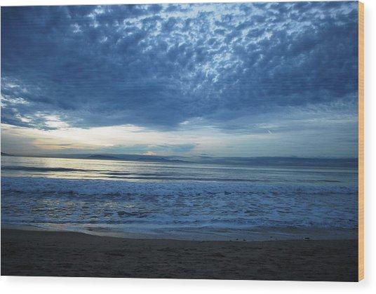 Beach Sunset - Blue Clouds Wood Print