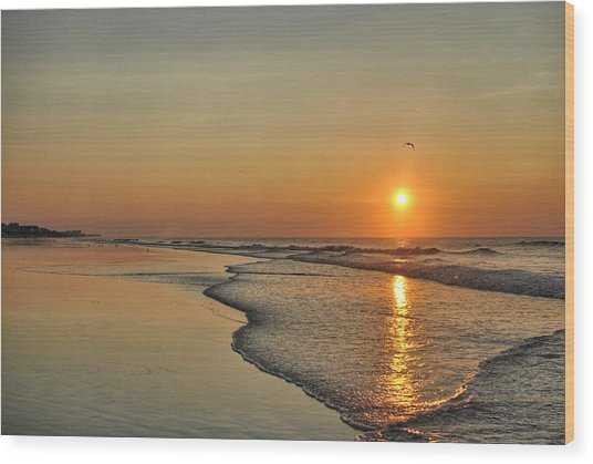 Topsail Nc Beach Sunrise Wood Print