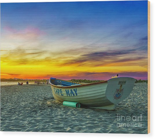 Beach Sunset In Cape May Wood Print