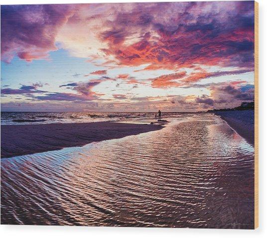 Beach Sunset Ripple Time Wood Print