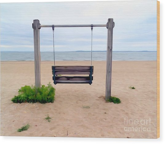Beach Swing Wood Print