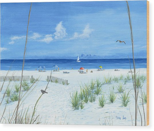 Beach Time Wood Print
