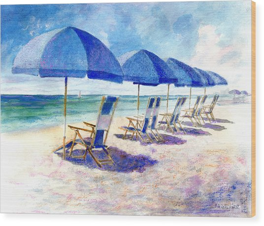 Wood Print featuring the painting Beach Umbrellas by Andrew King
