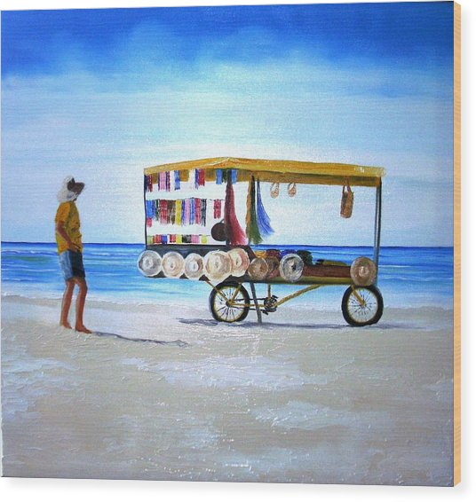 Beach Vendor Wood Print