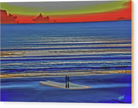Beach Walking At Sunrise Wood Print