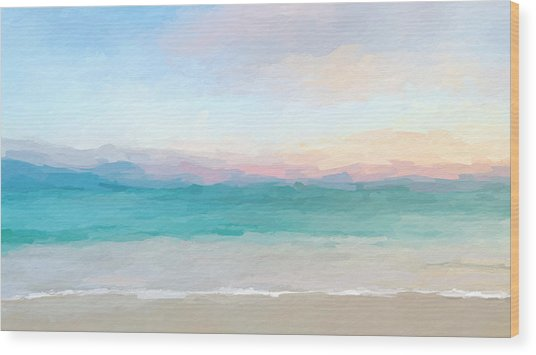 Beach Watercolor Sunrise Wood Print