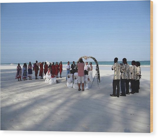 Beach Wedding In Kenya Wood Print