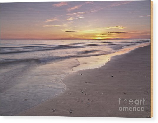 Beach Welcoming Twilight Wood Print