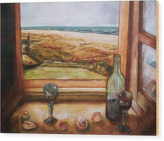 Beach Window Wood Print