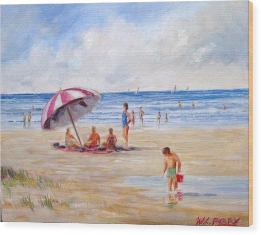 Beach With Umbrella Wood Print