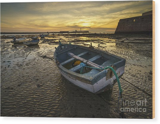 Beached Boat On La Caleta Cadiz Spain Wood Print