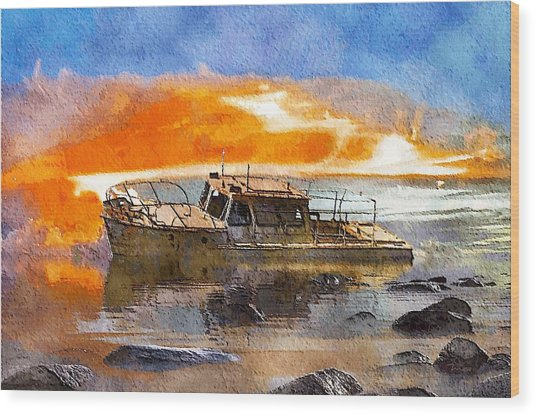 Beached Wreck Wood Print