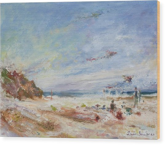 Beachy Day - Impressionist Painting - Original Contemporary Wood Print