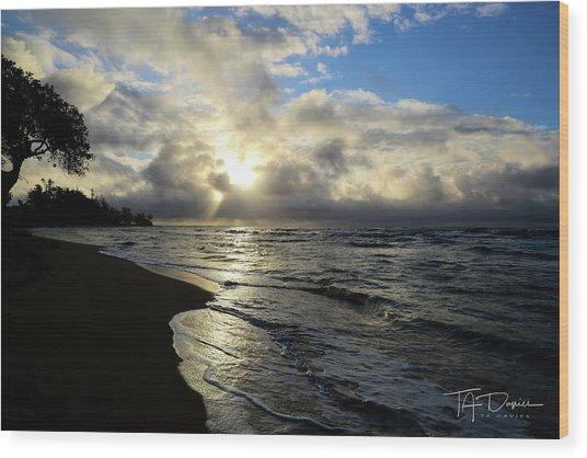 Beachy Morning Wood Print