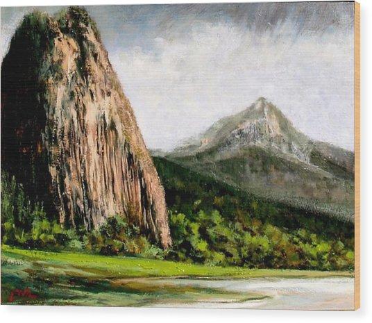 Beacon Rock Washington Wood Print by Jim Gola