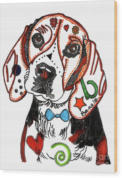 Beagle Drawing Wood Print by Christine Perry