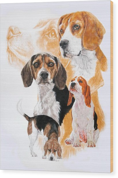 Wood Print featuring the mixed media Beagle Hound Medley by Barbara Keith