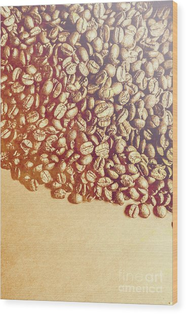 Bean Background With Coffee Space Wood Print