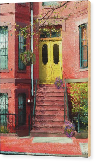 Beantown Brownstone With Yellow Doors Wood Print