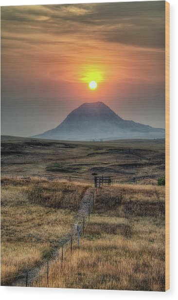 Bear Butte Smoke Wood Print