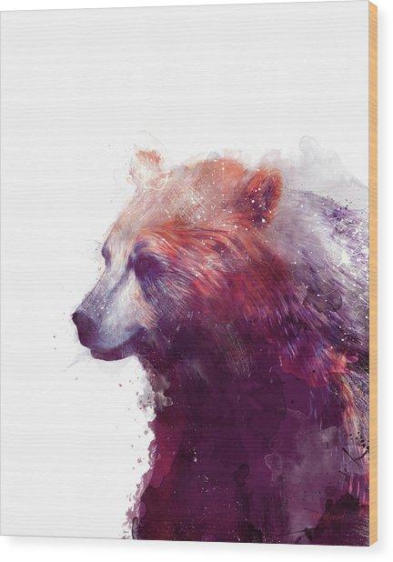 Bear // Calm - Right // White Background Wood Print